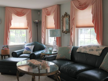 Hyannis Cape Cod vacation rental - Plush, leather chair and sofa/pull-out queen sleeper if needed