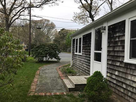 W Yarmouth Cape Cod vacation rental - Front walk to 3-car driveway