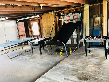 Harwichport Cape Cod vacation rental - Garage game room with ping pong, foosball, basketball, air hockey