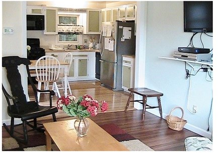 Orleans on Crystal Lake, close Cape Cod vacation rental - View from Sliding door of Living Room and Kitchen