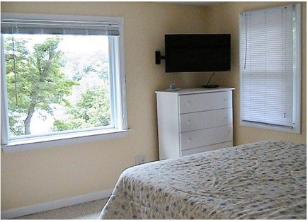 Orleans on Crystal Lake, close Cape Cod vacation rental - Lakeside Bedroom with Queen Bed & Picture Window
