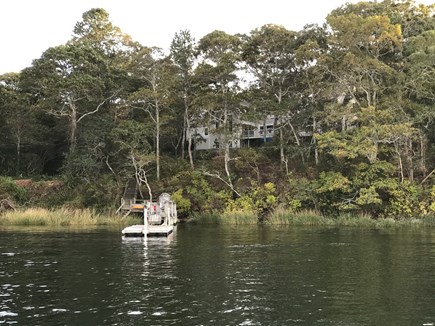 Yarmouth Cape Cod vacation rental - View of the dock and house from the Pond.