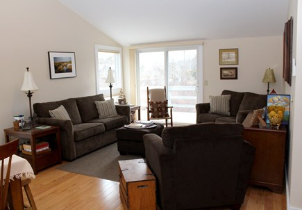 Wellfleet Cape Cod vacation rental - Comfortable living room with slider to deck