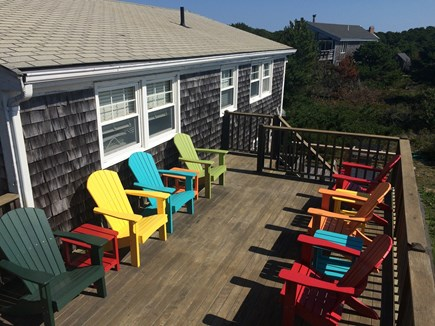 Truro Cape Cod vacation rental - 2nd floor deck with seating for 7-10 people.