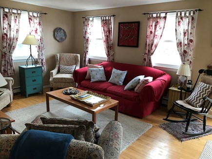 Truro Cape Cod vacation rental - Cozy living room with comfortable seating for 7+ people. New rug.