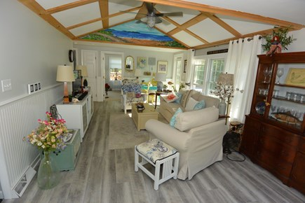 Mashpee, John's Pond Cape Cod vacation rental - Open and breezy living room with ceiling fan