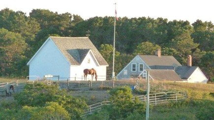 Truro Cape Cod vacation rental - View of farm from Flagpole Hill...perfect for morning coffee spot