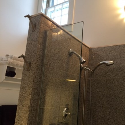 Truro Cape Cod vacation rental - Bathroom shower - glass and granite