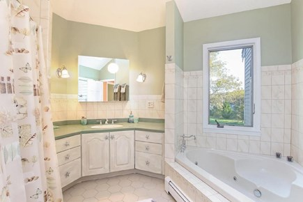 Eastham Cape Cod vacation rental - Master bathroom with double head shower and soaking tub