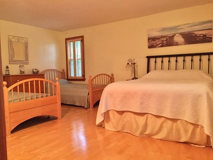 Chatham Cape Cod vacation rental - Master bedroom with full bathroom, queen, 2 twins, TV & Bathroom