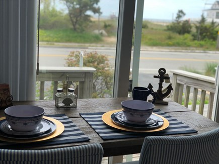 Dennis Port Cape Cod vacation rental - Enjoy a meal looking out at the ocean across the street!