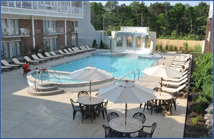 Hyannis Cape Cod vacation rental - Rainbow outdoor heated pool and waterfall