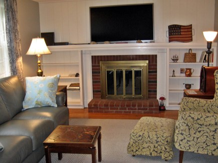 South Harwich Cape Cod vacation rental - Living Room- 54 inch TV On Mantle
