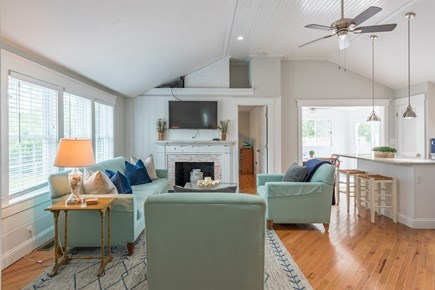 West Yarmouth Cape Cod vacation rental - Vaulted living room and kitchen ceiling
