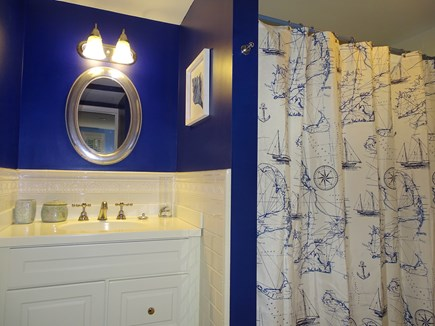 Eastham Cape Cod vacation rental - Master bathroom with tub and shower