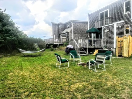 Plymouth, White Horse Beach MA vacation rental - Big Backyard with Firepit, Hammock, Dinning Area & Shower