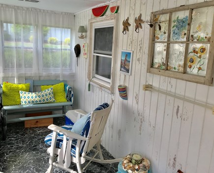 Plymouth MA vacation rental - Adorable front porch - artwork by owner