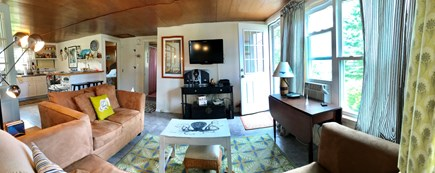 Plymouth MA vacation rental - Panoramic view of cottage TV Area and Kitchen