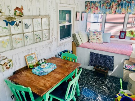 Plymouth, White Horse Beach MA vacation rental - 3 Season Porch with Dining and Sleeping Area