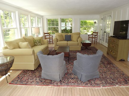 Chatham Cape Cod vacation rental - Huge Family Room with TV, Card/Game Table and Pullout Sofa.
