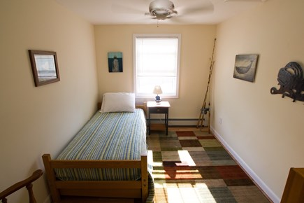 Dennisport Cape Cod vacation rental - Twin trundle bed on second floor with ceiling fan.