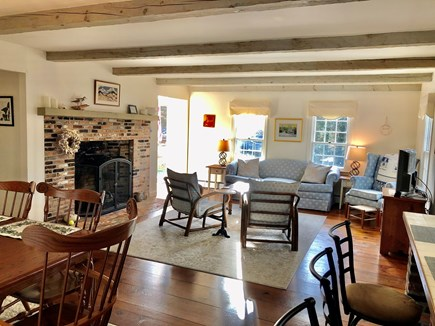 Eastham-Boat Meadow Beach area Cape Cod vacation rental - Spacious living room with flat screen TV opens to dining area.