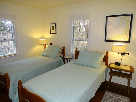 Eastham, Boat Meadow Beach area Cape Cod vacation rental - 1st floor bedroom with 2 twin beds with new Tempurpedic toppers.