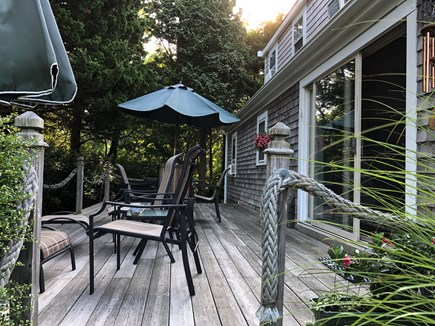 Eastham-Boat Meadow Beach area Cape Cod vacation rental - Enjoy outdoor dining on the Marsh view deck. Seats six.