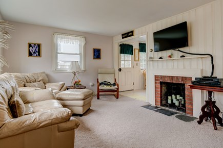 East Falmouth Cape Cod vacation rental - Comfortable couches arranged around the tv