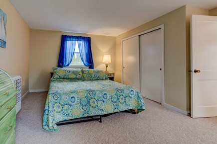 East Falmouth Cape Cod vacation rental - Colorful curtains for the master bed room
