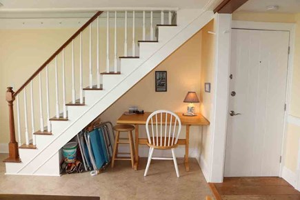 Hyannis Cape Cod vacation rental - Staircase provides desk space for those who need it...