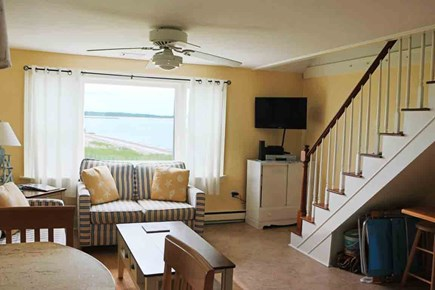 Hyannis Cape Cod vacation rental - The bay window brings the beach into this warm living room...