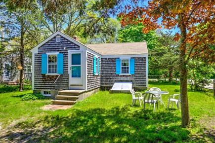 East Sandwich Cape Cod vacation rental - Private back yard with grill and outdoor table.