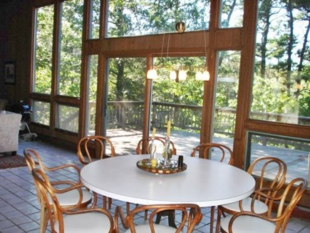 Wellfleet Cape Cod vacation rental - Dining area open to Kitchen - Living room & deck