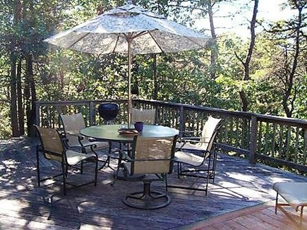 Wellfleet Cape Cod vacation rental - Outdoor eating on deck overlooking nature
