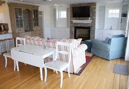 East Sandwich Cape Cod vacation rental - Living area with gas fireplace and TV.
