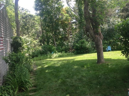 East Orleans  Cape Cod vacation rental - Large level private back yard, overlooked by deck.