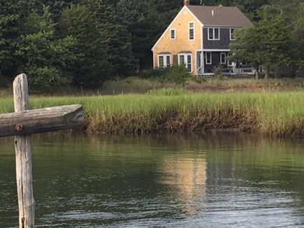 Eastham Cape Cod vacation rental - Looking back at house from Orleans Rock Harbor at high tide