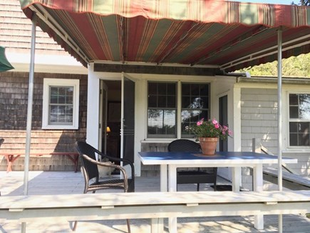 Eastham Cape Cod vacation rental - Awning on back deck off of dining with views