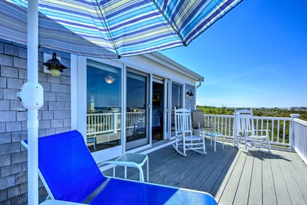 East Sandwich Cape Cod vacation rental - Upper level deck with horizon water views.