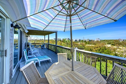 East Sandwich Cape Cod vacation rental - Middle level deck off the main Living/Dining area.