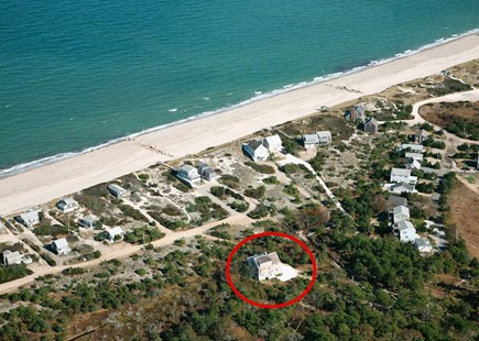 East Sandwich Cape Cod vacation rental - Aerial location of house and beach.