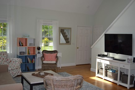 Harwich Cape Cod vacation rental - Cathedral ceiling living room with Cable TV, WiFi, and DVD player