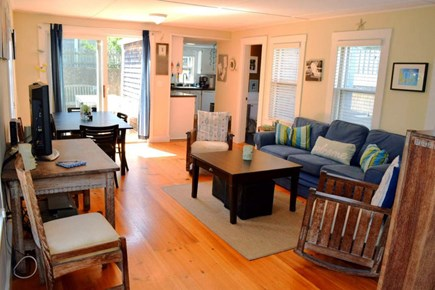 Provincetown Cape Cod vacation rental - Open living area with sliders to the deck