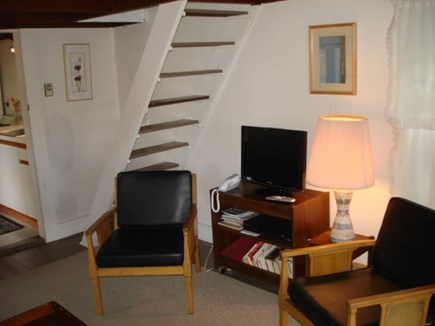 Wellfleet Cape Cod vacation rental - Living room and staircase going up to bedroom