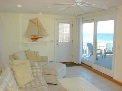 East Sandwich Cape Cod vacation rental - Upstairs living area with television and access to deck