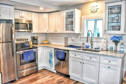 South yarmouth Cape Cod vacation rental - Full kitchen with stove, dishwasher, microwave, kcup single serve