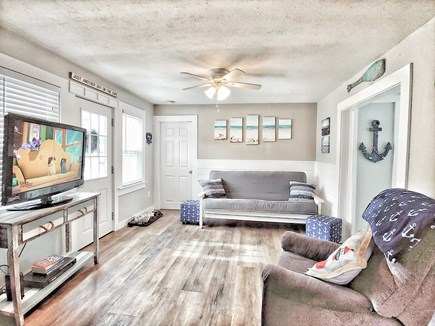 South yarmouth Cape Cod vacation rental - 42 inch tv with YouTube TV access and DVD in living room