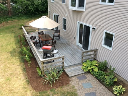 Eastham Cape Cod vacation rental - A bird's eye view of the deck for chilling and grilling