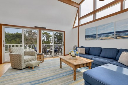 Chatham Cape Cod vacation rental - Large and bright family room surrounded by sliding glass doors.